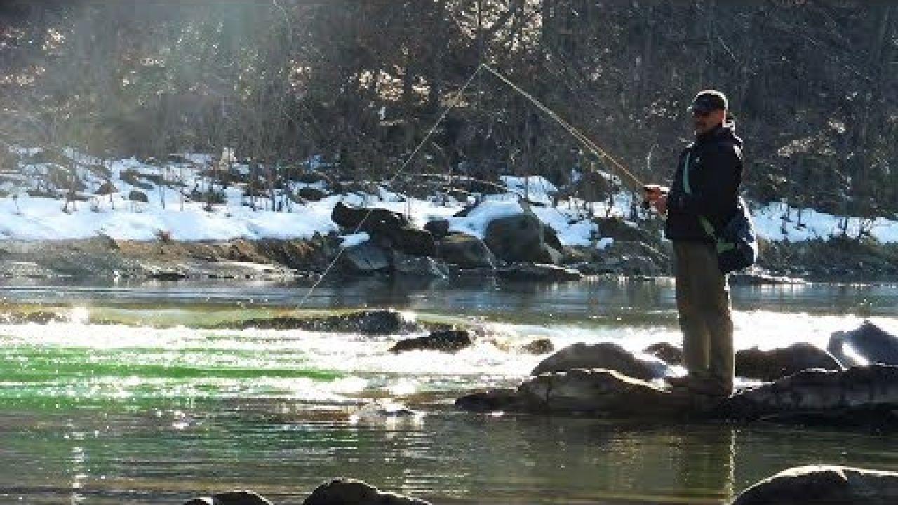 Ловля форелі у Карпатах. Рибалка спінінгом у лютому